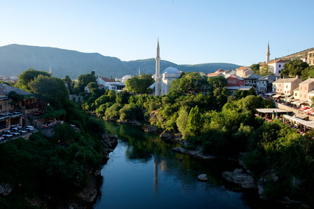 Mostar city view, medieval, mosques, river