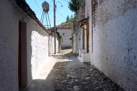 medieval street in Berat city, Albania, heritage