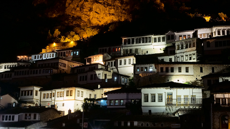 medieval Berat city, night view in Albania, vintage style