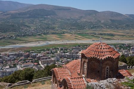 medieval orthodox church on hill at Berat city, Albania Imagens