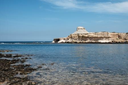 yellow sandstone rocks near to Marsalforn, Gozo island, Malta