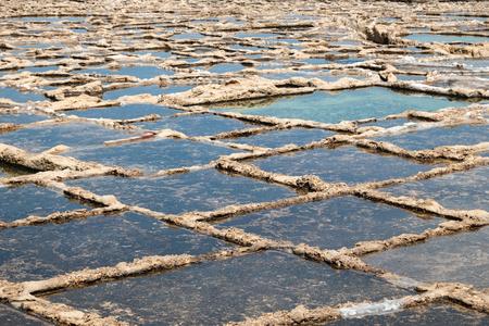 salt pans at the sea near to Marsalforn, Gozo island, Malta - close up