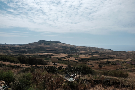 Gozo island landscape with hill Imagens