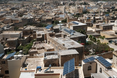 homes of Gozo, cityscape from above with anrrow streets