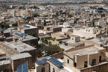houses of Gozo, cityscape from above with anrrow streets