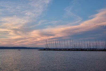 marina at lake Balaton at sunset, Plattensee, Hungary