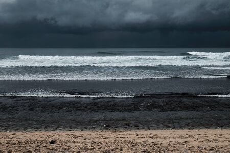 storm over ocean shore horizontal layers abstract Imagens