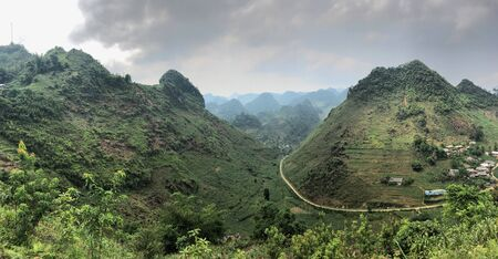 Landscape panorama North Vietnam Ha Giang province, hills and roads