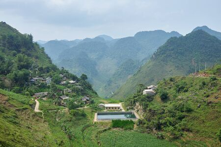 swimming pool and houses in the mountain Ha Giang, north Vietnam