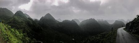 dark and misty panoramic view at Ha Giang province in North Vietnam