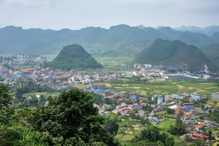 city surrounded by mountains at Ha Giang, north Vietnam