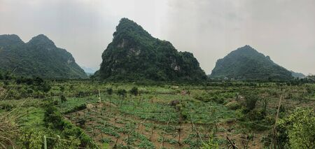 North vietnam loop, landscape with mountains at Ha Giang province. Imagens