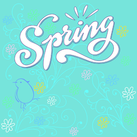 hand lettered: Spring hand lettered word with floral background. Vector illustration.