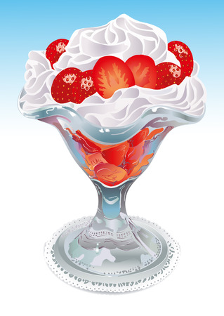 cream filled: Cup filled with cream and strawberries on top. Vector Illustration