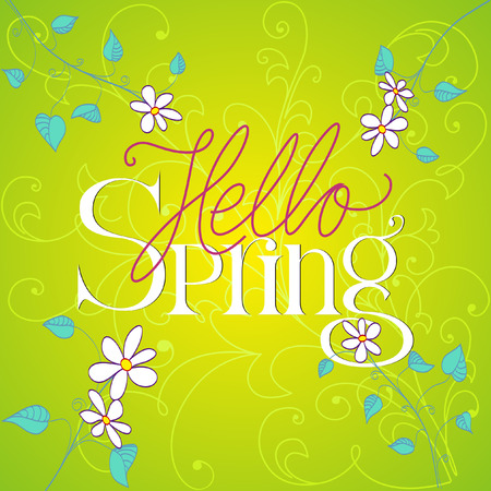 hand lettered: Hello Spring hand lettered with flowers. Vector Illustration