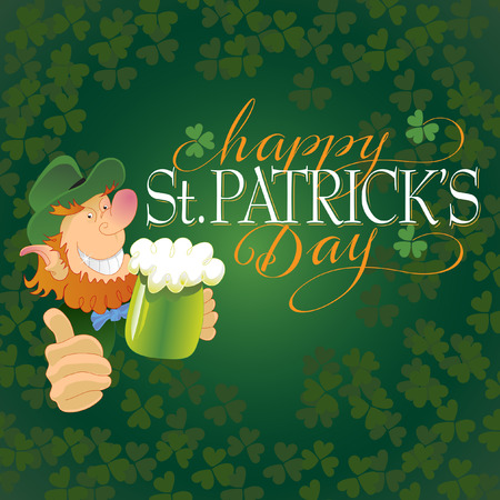 hand lettered: Saint Patricks Day Hand Lettered Background with Leprechaun Vector Illustration