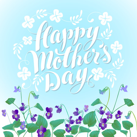 violets: Happy Mothers Day with Violets Illustration