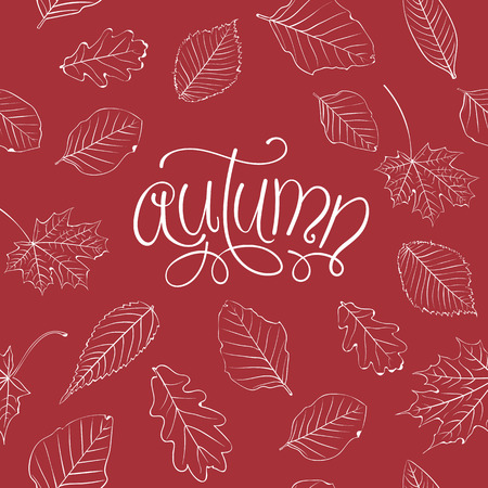 hand lettered: Autumn Background. Hand Lettered Text and Leaves