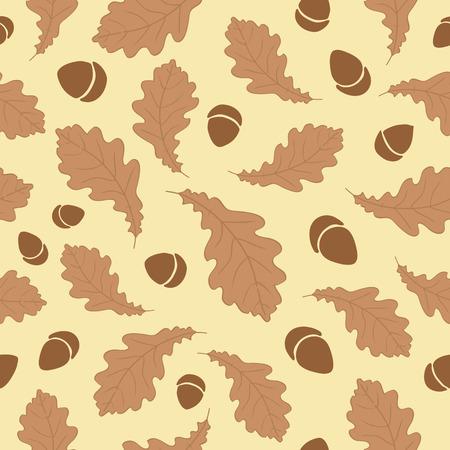 Autumn Leaves Acorn Pattern Background