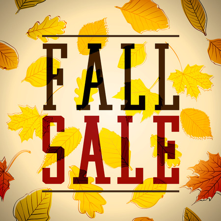 Fall Sale Text with a Background full of Leaves. Autumn Vector Illustration.