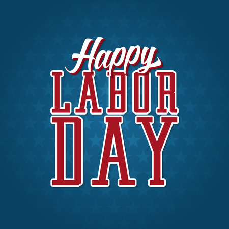 labor: Happy Labor Day Label. Text with Shadows on top of a blue background filled with stars. Illustration