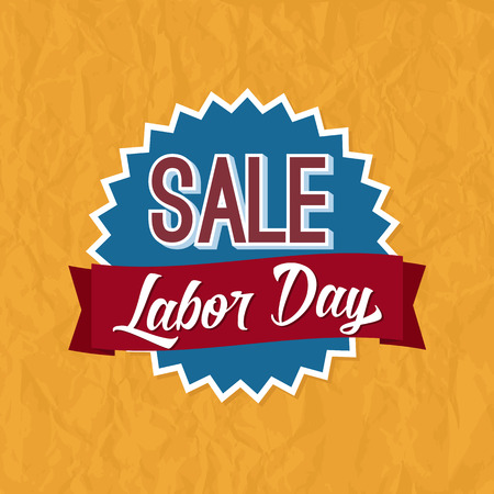 labor: Labor Day Sale Badge Label. Badge with Banner and Text on top of a Yellow Background with Paper Texture. Illustration