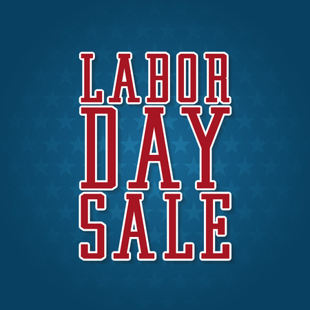 labor: Labor Day Sale Label. Text with Shadows on top of a blue background filled with stars. Illustration