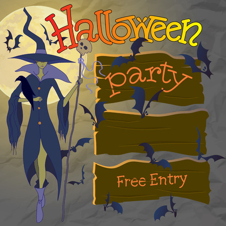 sign posts: Halloween Party Vector Illustration. Witch and Sign Posts with Bats.