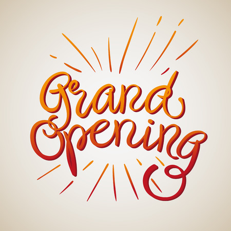 Grand Opening Vector Illustration. Hand Van letters tekst Gradient en stralen die uit het komen.