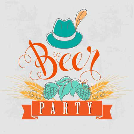 ビール党のベクター イラストです。大麦と抽象的な背景の帽子と手文字のテキスト。
