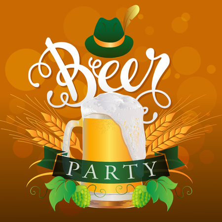 hand lettered: Beer Party Vector Illustration. Hand Lettered text with a mug of beer, a banner and a hat on a abstract background. Illustration