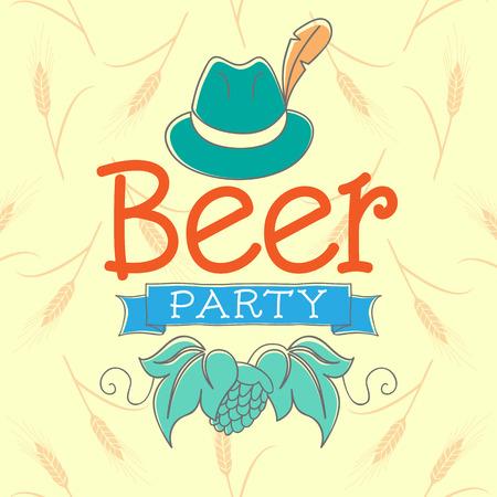 ビール党のベクター イラストです。背景の帽子と手文字テキストは、大麦でいっぱい。