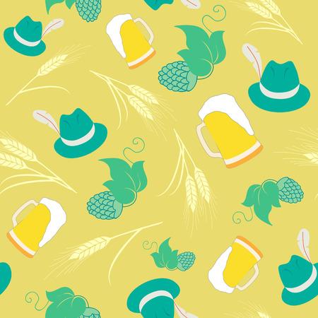 オクトーバーフェスト ビール パターン背景。ビール ジョッキ、帽子、大麦とホップのパターン。  イラスト・ベクター素材