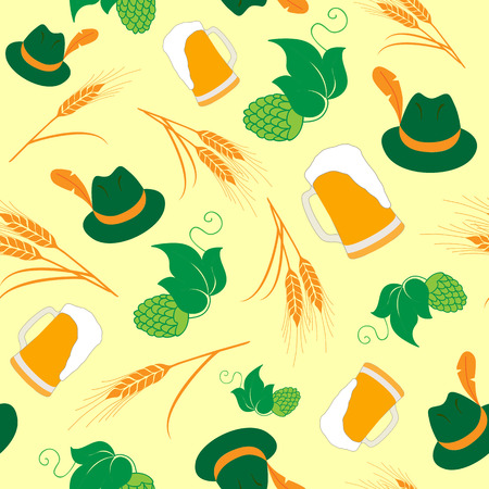 barley hop: Oktoberfest Beer Pattern Background. Pattern consisting of Beer Mugs, Hats, Barley and Hop. Illustration