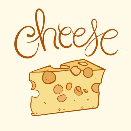 チーズのベクトル図です。手文字テキストとチーズのイラスト。