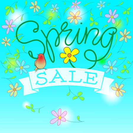 hand lettered: Spring Sale Vector Illustration. Hand Lettered Text with Banner, Bird and Flowers in a blue background.