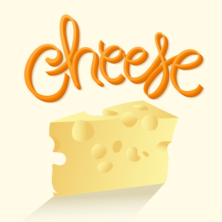 hand lettered: Cheese Vector Illustration. Hand Lettered Text with Shadows and Realistic Cheese Illustration.