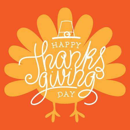 animados: Feliz día de acción de gracias. Ilustración del vector con la mano con letras de texto y una silueta de Turquía con fondo naranja. Vectores