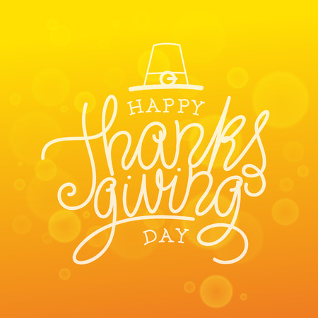 Happy Thanksgiving Day. Vector Illustration with Hand Lettered Text  with orange background. 向量圖像