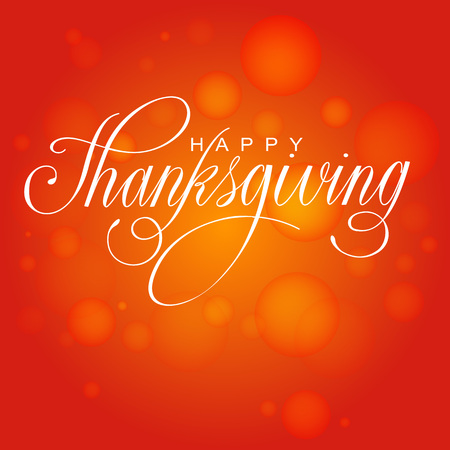 Happy Thanksgiving Day. Vector Illustration with Hand Lettered Text  with red background. Ilustração
