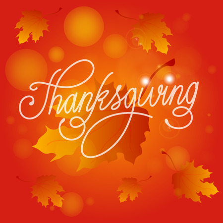 Happy Thanksgiving Day. Vector Illustration with Hand Lettered Text  with leaves and red background.