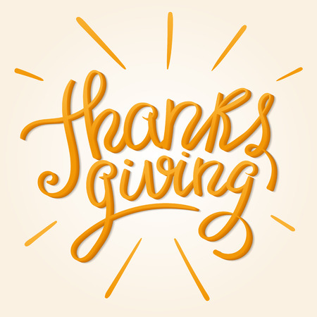 Happy Thanksgiving Day. Hand Lettered Orange Text with Rays.