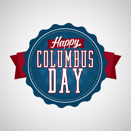 christopher columbus: Happy Columbus Day Badge Label. Text on a Blue Badge with Stars in the Background. Illustration