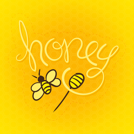 honey comb: Honey Label Vector Illustration. Hand Lettered Text with Stick and Bee Illustrations on a honeycomb background. Illustration