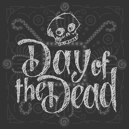 hand lettered: Dia de los muertos - Day of the Dead Vector Illustration. Hand Lettered Text with Skull. Background with aztec-like pattern.