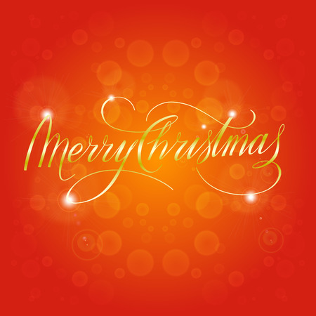 hand lettered: Merry Christmas Vector Illustration. Shiny Golden Hand Lettered Text on a Red Bokeh Background.