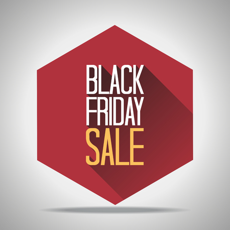 Black Friday Sale Poster Vector Illustration. Text on a Red Hexagon and Grey Background. Illustration