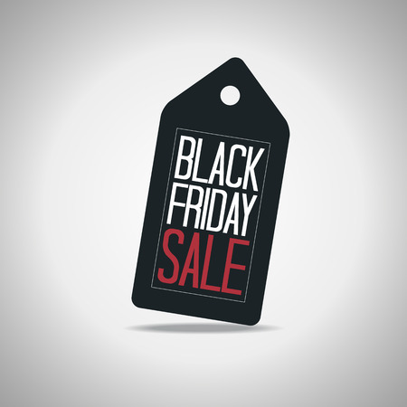 black banner: Black Friday Tag Poster Vector Illustration. Text on a Price Tag.