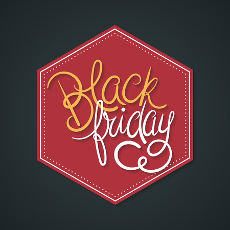 Black Friday Poster Vector Illustration. Hand Lettered Text on a Red Hexagon and Dark Background. Ilustrace