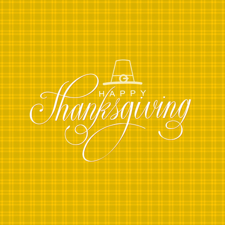 Happy Thanksgiving Day Poster Vector Illustration. Hand Lettered Text on a squared background.